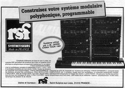 Ancienne pub du synthé modulaire RSF