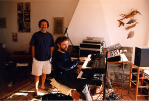 Jean-Michel et Jean-Philippe - séance de travail en Espagne pour l'album Rain Of Blessings / Vajra Chants (photo Reusser, 1999)
