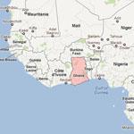 Le Ghana sur une carte de la corne de l'Afrique